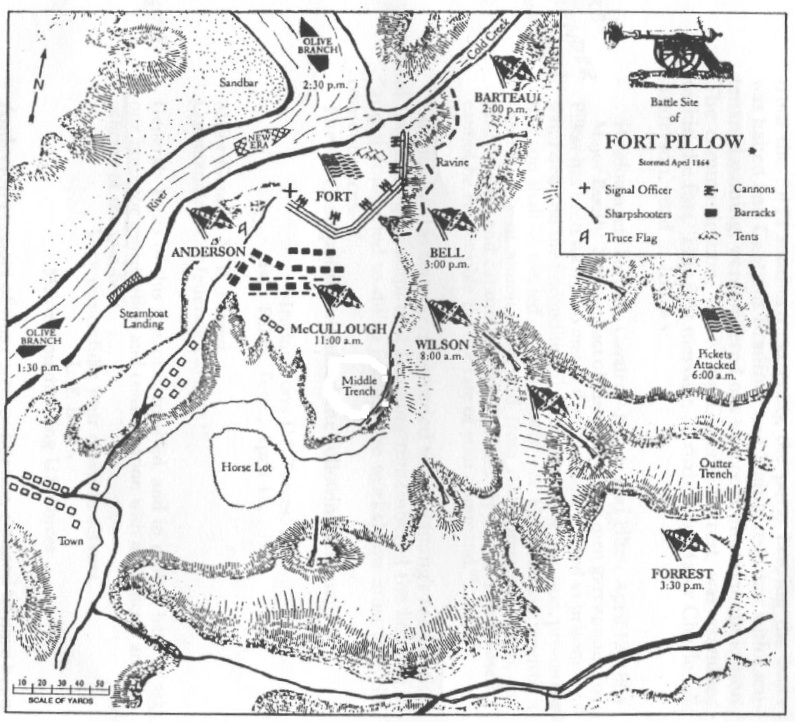 Map of Battle of Fort Pillow