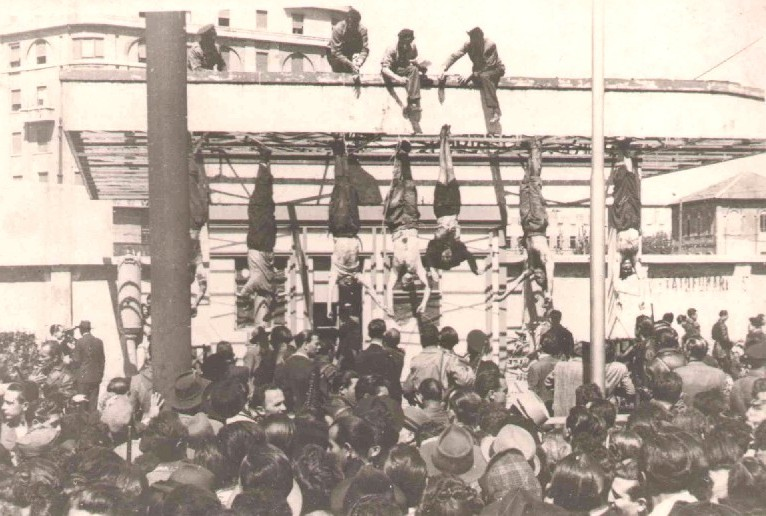 Image result for picture of mussolini hanging from rope