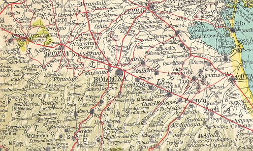 Army issue maps of the italian campaign tourist map consociazione turistica italiana dal mare del nord al mediterraneo printed in italy in 1939 detail of area bologna hiway 9 gumiabroncs Images